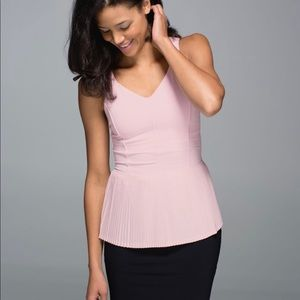 Lululemon barely pink City Tank top peplum cut out